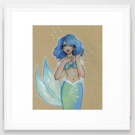 Sea Green Mermaid Framed Art Print