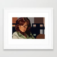 battlestar Framed Art Prints featuring Battlestar Galactica : Mary McDonnell by Grace Teaney Art