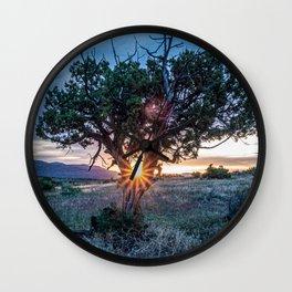 Sun Tree Hammock // Grainy Night Sunset Rays Hiking Landscape Photograph Wilderness Beauty Wall Clock