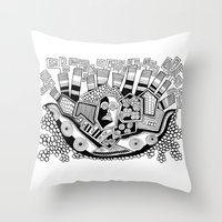 potato Throw Pillows featuring Mashed potato by Brabs