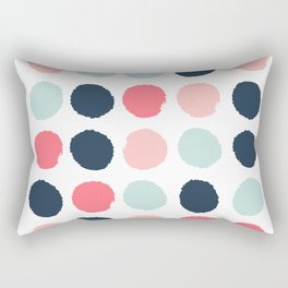 Dots painted coral mint navy pink pattern dotted polka dot minimalist Rectangular Pillow