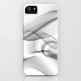 Minimal black and white smoky flux in motion #abstractart #decor iPhone Case
