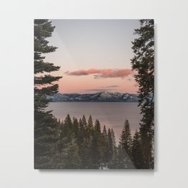 Sunset over Lake Tahoe, California, Sierra Nevadas, Landscape Photography, Pine Trees, Framed Image Metal Print