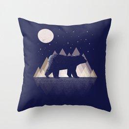 Moon Bear - Geometric, bear shirt, stars, mountains, animal t shirt, animal print t shirt, wildlife Throw Pillow