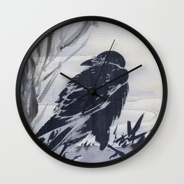 Crow And Reeds By A Stream - Digital Remastered Edition Wall Clock