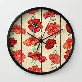Hanging Poppy Garland Wall Clock
