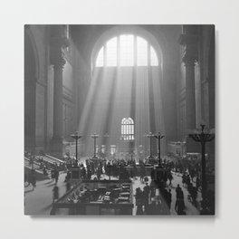 Penn Station, Rays of Light black and white photograph - black and white photography Metal Print