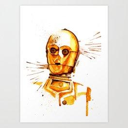C3 PO Droid Star Space Watercolor Paint Rebel Art Print