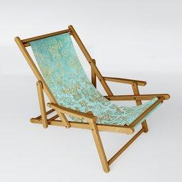 Mermaid Gold Aqua Seafoam Damask Sling Chair