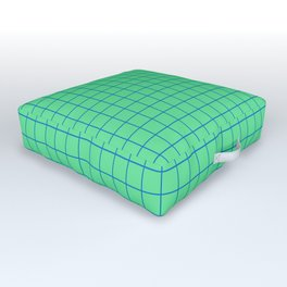 Peppermint Green and Blue Grid Outdoor Floor Cushion