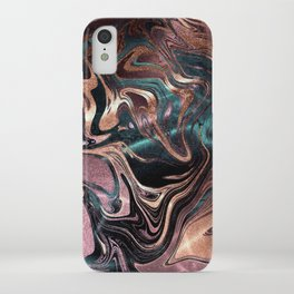 Metallic Rose Gold Marble Swirl iPhone Case