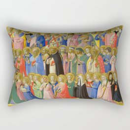 """Fra Angelico """"Fiesole Altarpiece - The Forerunners of Christ with Saints and Martyrs"""" Rectangular Pillow"""