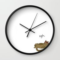caleb troy Wall Clocks featuring Crunch Cat by Caleb Croy by UCO Design