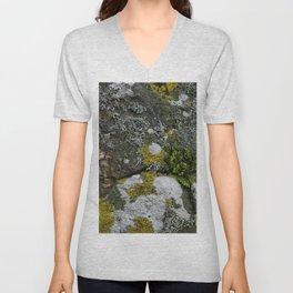 Coastal Rocks With Lichens and Ferns Unisex V-Neck