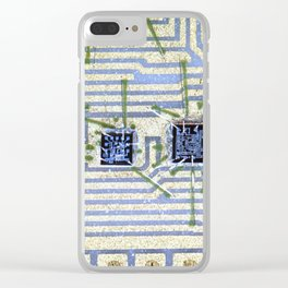 Silicon chip on a circuit Clear iPhone Case