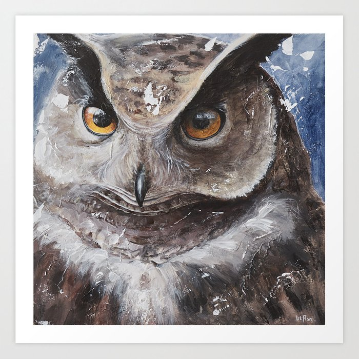 "The Owl - ""Watch-me!"" - Animal - by LiliFlore Art Print"