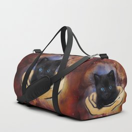 Galaxy Cat and Red Nebula Duffle Bag