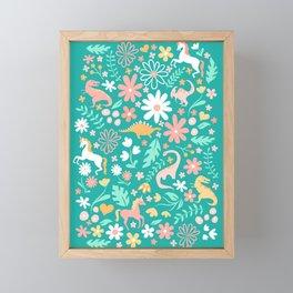 Dinosaurs + Unicorns on Teal Framed Mini Art Print