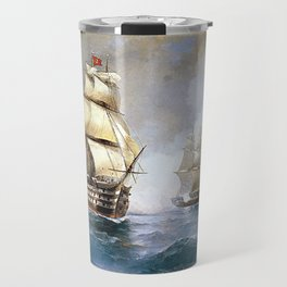 Brig Mercury Attacked by Two Turkish Ships Travel Mug