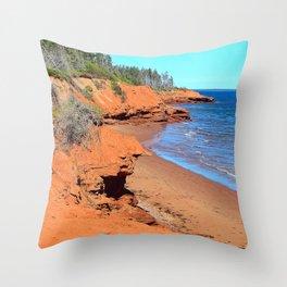 Red Cliffs of PEI Throw Pillow