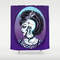 punk rock Shower Curtains featuring Punk Rock Girl by Eeriette