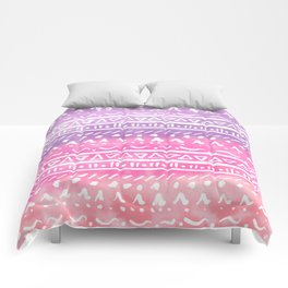 Geometric hand drawn abstract white aztec modern summer pink purple coral ombre watercolor pattern Comforters