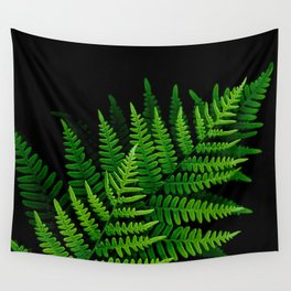 Fern Fronds on Black Wall Tapestry