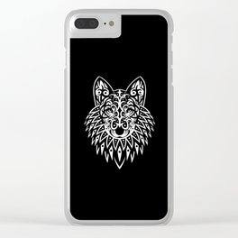 Tribal Wolf face Clear iPhone Case