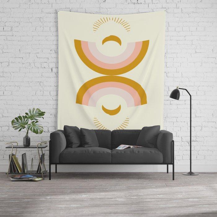 Moon rainbow Wall Tapestry