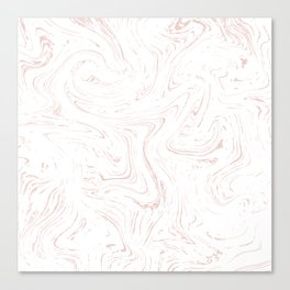 Modern abstract rose pink white watercolor marble Canvas Print