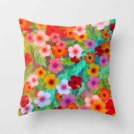 Colorful Hibiscus Throw Pillow