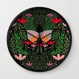Butterfly in The Garden 01 Wall Clock