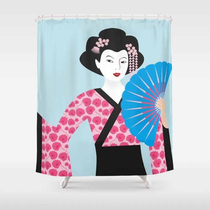 Geisha 2 Shower Curtain By Kathrinmay