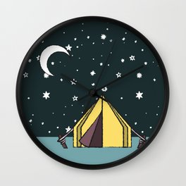 pitching a tent Wall Clock