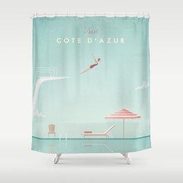 Vintage Côte d'Azur Travel Poster Shower Curtain