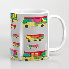 Grey Mini Bus Pattern Coffee Mug