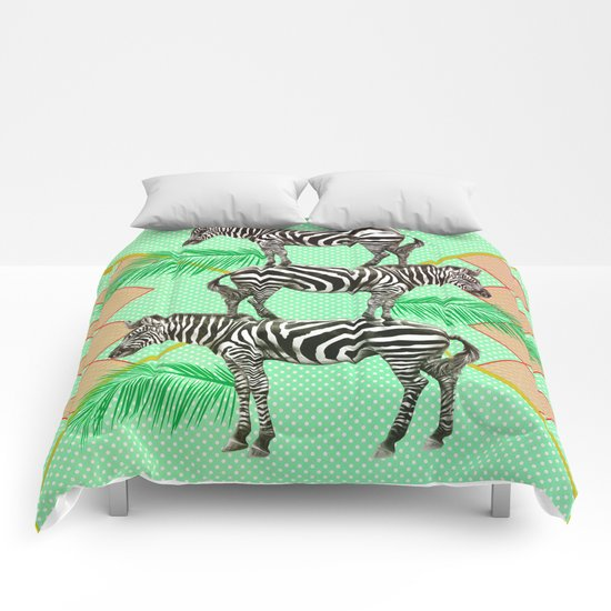 zebras in the jungle Comforters