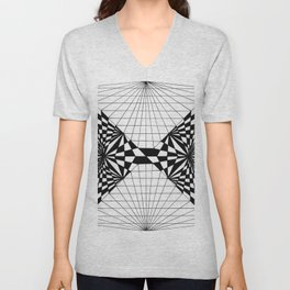Abstract butterfly on perspective grid Unisex V-Neck