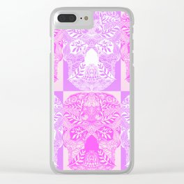 Pink and Purple Sugar Skulls Collage Clear iPhone Case