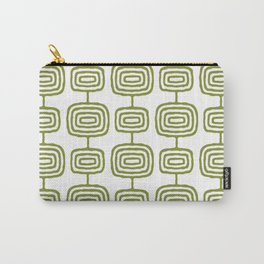Mid Century Modern Atomic Rings Pattern Olive Green 3 Carry-All Pouch