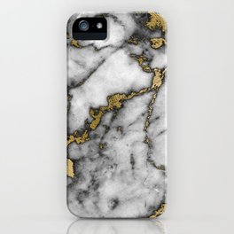 Faux marble Stone Gray Tones Gold Accent iPhone Case
