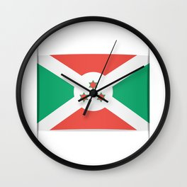 Flag of Burundi.  The slit in the paper with shadows. Wall Clock