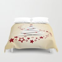 christmas tree Duvet Covers featuring christmas tree by Li-Bro