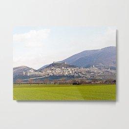 Panoramic view of the hills around Assisi Metal Print