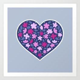 Floral hearts Art Print