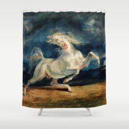 """Eugene Delacroix """"Horse Frightened by Lightning"""" Shower Curtain"""