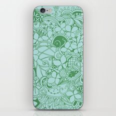 Blue square, green floral doodle, zentangle inspired art pattern iPhone & iPod Skin
