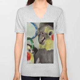 Chit Chat Cockatiel Painting Unisex V-Neck