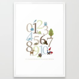 Woodland Numbers Framed Art Print