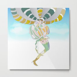 Girl who flies in her balloon dress Metal Print